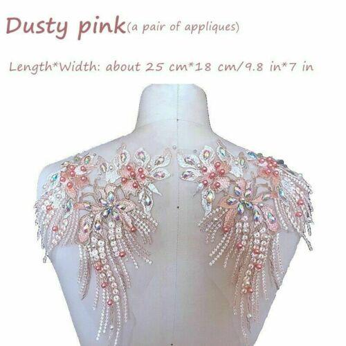 Bestickt Blumenmuster Applikation Perlen Pailletten Patch Rand Glänzend für Mode