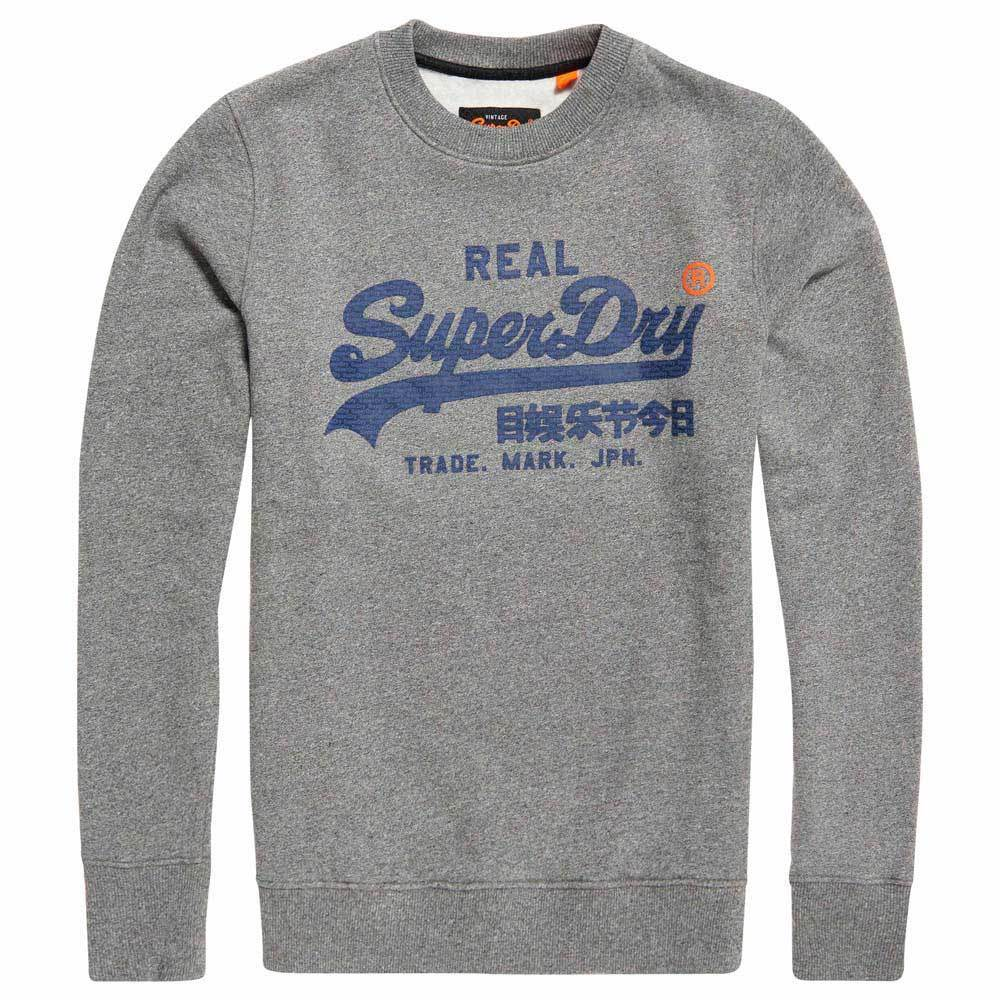 Superdry Men's Vintage Logo Panel Stripe Crew Neck Sweatshirt Phoenix grau Grit