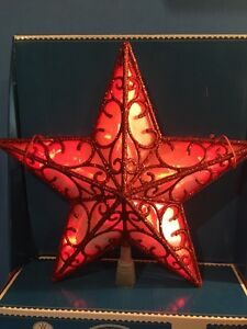 NEW Christmas LED Lighted Red Glitter Star Tree Top Topper Battery Operated | eBay