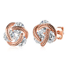 14K Rose Gold Love Knot Stud Earrings with Swarovski Crystals Made in ITALY