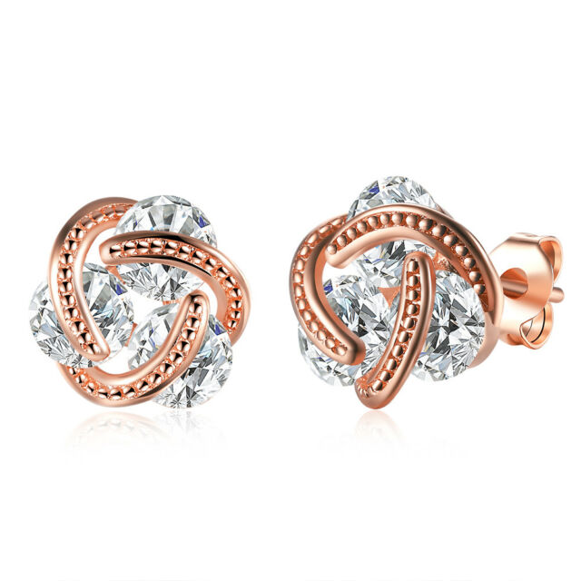 14K Rose Gold Love Knot Stud Earrings with Swarovski Crystals with Gift Box