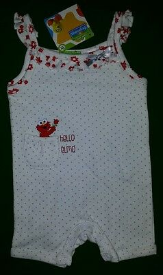 "Disciplined Bnwt ""sesame Street"" Elmo Strap Bodysuit 0000 Clear And Distinctive Romper ** Size 0-3 Mnths"
