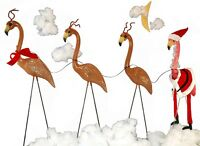 Christmas Flamingo Statue Plastic Stand Holiday Decor Lawn Ornaments Garden Usa