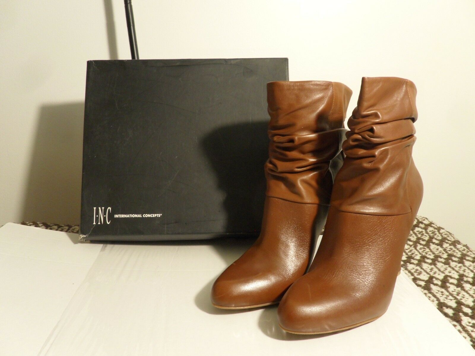 Macy's I-N-C Brown Leather Booties, 9 M