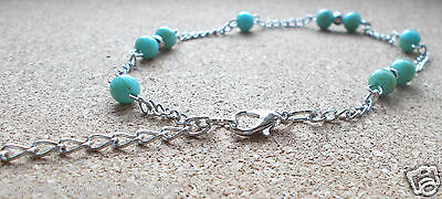 Turquoise Anklet Beaded Ankle Boho Holidays Beach Silver Tone Chain Festival