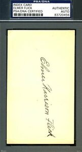 Elmer-Flick-Full-Name-Signed-Psa-dna-Authenticated-3x5-Index-Card-Autograph