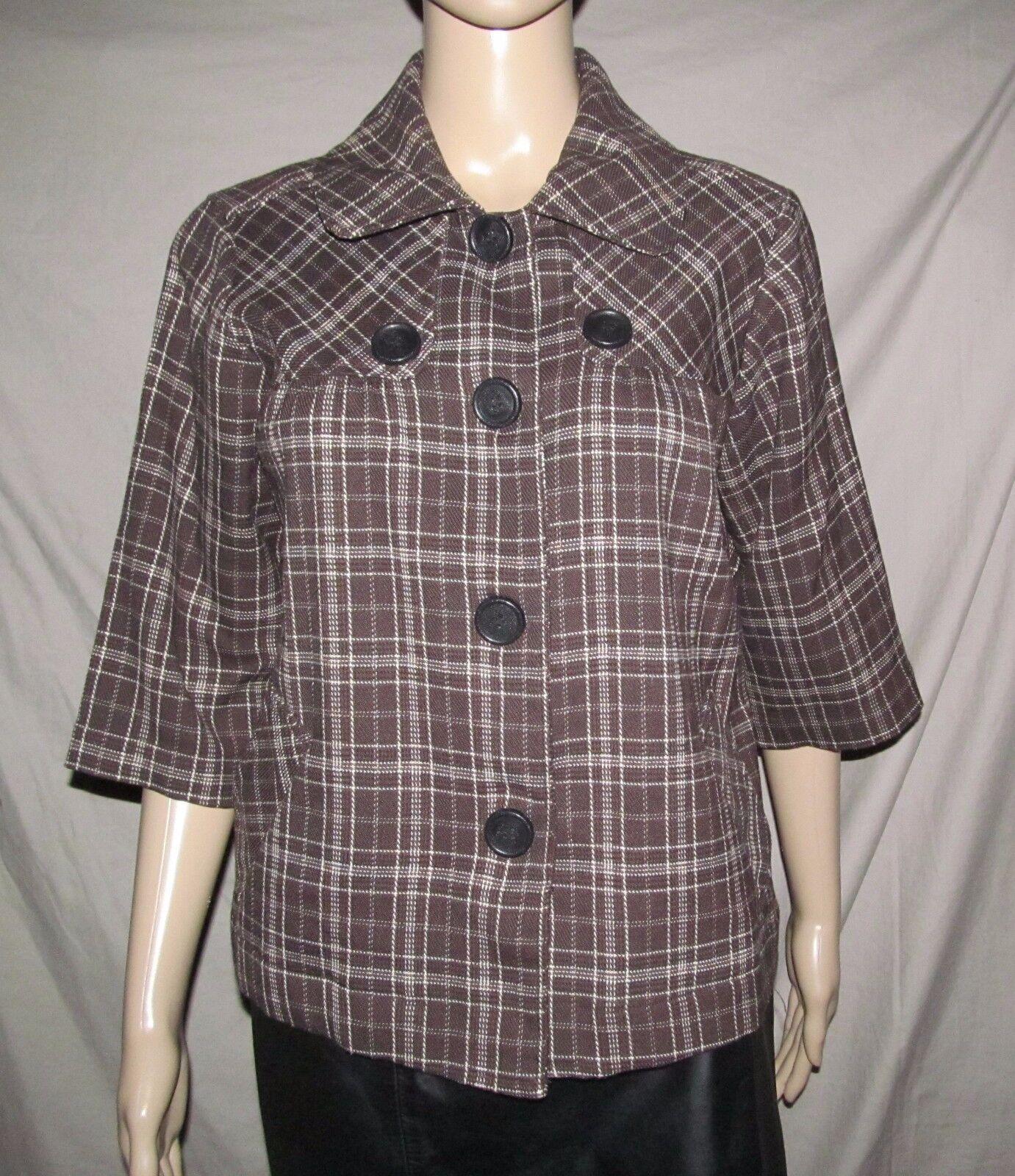 BACCINI Retro 1950s / 1960s Brown Plaid Front Button jacket Women's M Medium