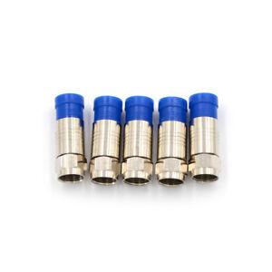 5pcs F Connector RG6 Coax Compression Cable Connector   Ub