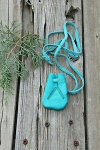 Turquoise-leather-neck-pouch-with-feathers-Leather-amulet-bag-medicine-bag