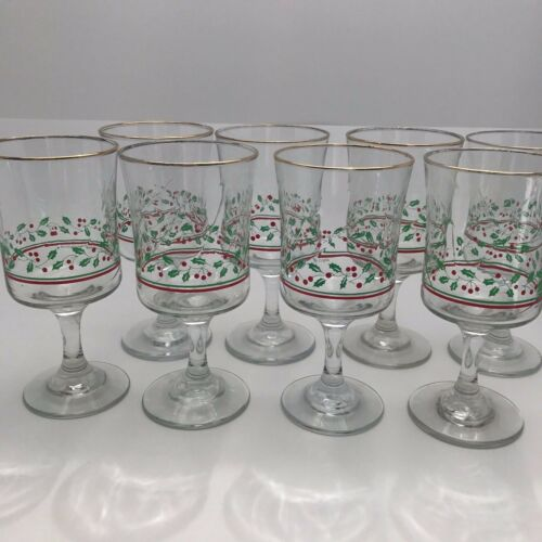 8 Vintage Arby's Libbey Ribbon Stem Glasses Holly Berry Gold Christmas Glass