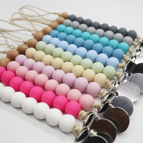 Food Grade Silicone Wooden Round Beads Baby Teething Pacifier Dummy Clip Soother