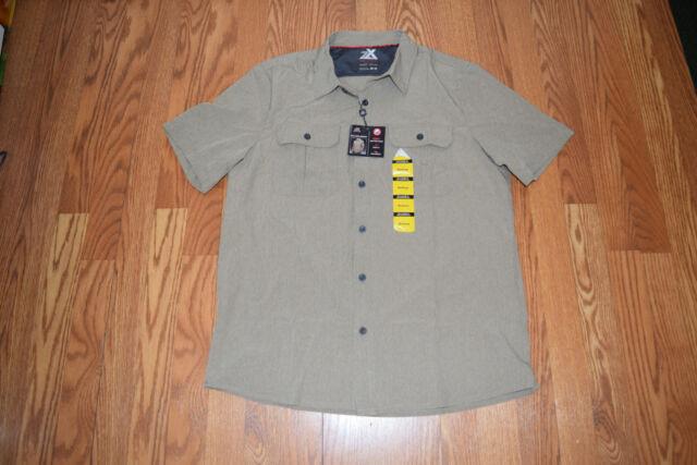 609d8b0cbf NWT Mens ZeroXposur Travel Series Shirt Sun Protection Heather Khaki Size M