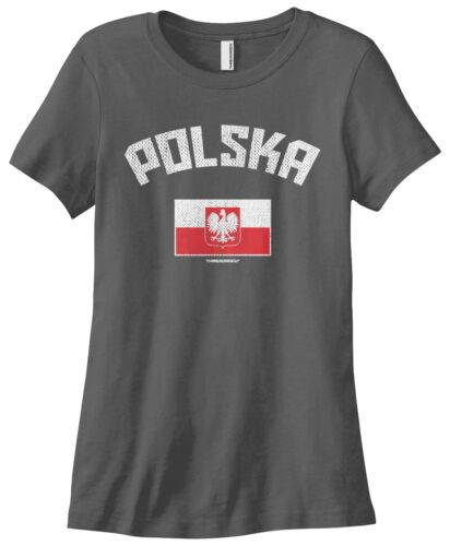 Threadrock Women/'s Polska Polish Flag T-shirt Poland Pride