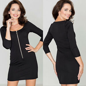 Robe Noire Sexy Courte Decollete Zippe Manches 3 4 Femme Katrus Taille 40 42 Ebay
