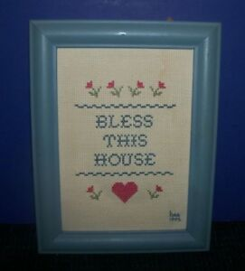 Hand-Made-Cross-Stitch-Picture-with-Blue-Wood-Frame