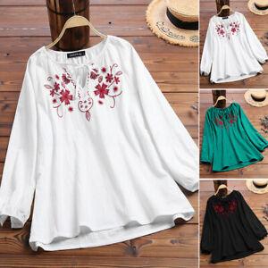 Mode-Femme-Coton-Chemise-Broderie-Manche-Longue-Lacer-Floral-Haut-Tops-Plus