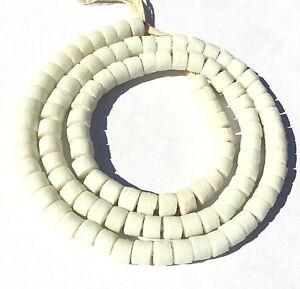 Chalk-White-Ghana-handmade-recycled-glass-disk-African-Trade-Beads