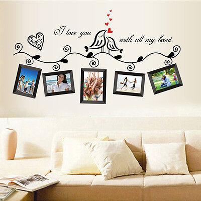 Love Birds Photo Frame Removable Vinyl Art Wall Sticker Decal Decor Mural Home