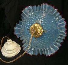 ANTIQUE LARGE OPALINE & CRIMSON CRANBERRY EDGE GLASS SHADE CEILING LIGHT stylish