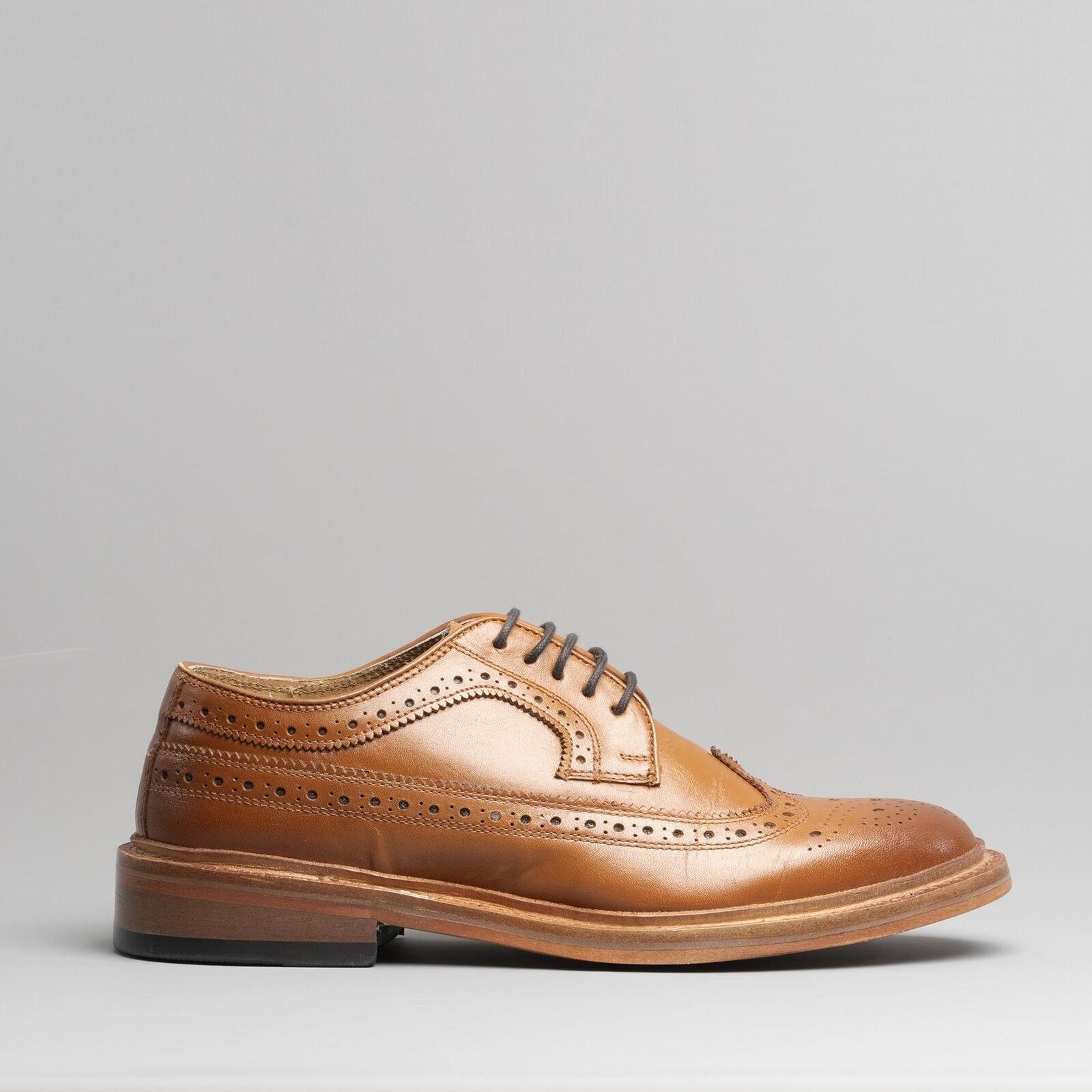 Kensington LUIS Mens Luxury Leather Formal Traditional Brogue Derby schuhe Tan