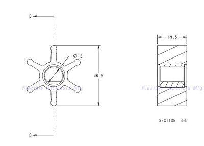 Kohler Onan Water Pump Impeller Sherwood 08000K Onan 4-8 KW 541-1524