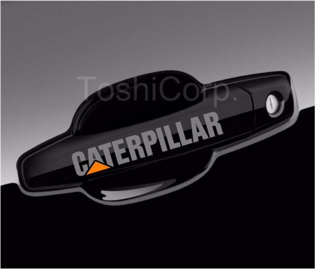 4 caterpillar sticker decals wing mirror wheels door handle cat truck silver
