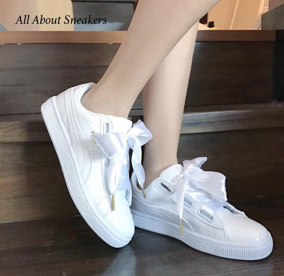 Puma Basket cœur Patent-Blanc-blanc femmes chaussures 363073 02 Yogi