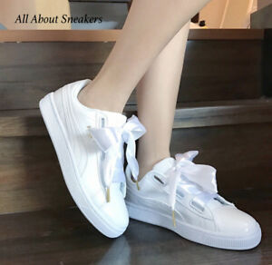 online retailer 2716a c772a Details about Puma Basket Heart Patent -White-White Women Shoes 363073 02  YOGI