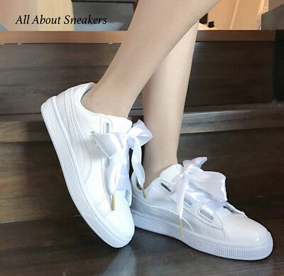 promo code 2d040 568b9 Puma Basket Heart Patent -White-White Women Shoes 363073 02 YOGI | eBay