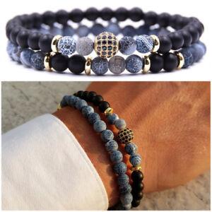 autentica di fabbrica eb772 417bc Dettagli su Bracciale uomo pietre set braccialetti in pietra agata con  onice oro blu da nero