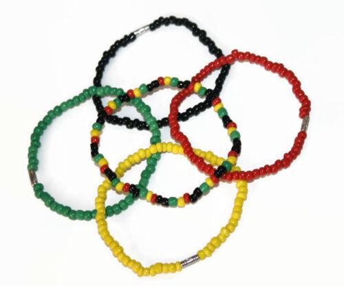Island bracelets africain perles stretch Jamaïque Reggae Rasta Italien Hommes Bijoux