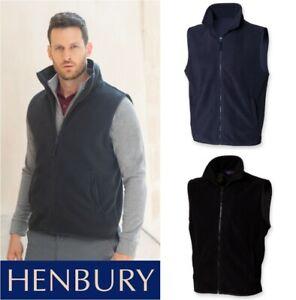 Henbury-Mens-Sleeveless-Micro-Fleece-Jacket-Gilet-Bodywarmer-Sizes-S-XXL