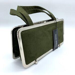 Sondra Roberts Green Suede Leather Clutch Handbag Bag Purse