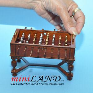 FOOSBALL TABLE DOLLHOUSE MINIATURE 1:12 PUB GAME 1:12 scale Walnut A