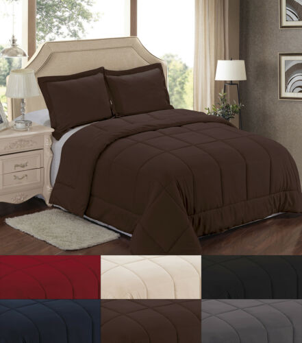 Down Alternative Polyester Box Stitch Microfiber Solid Color Comforter 3Pc Set