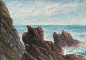 ROCKY-COASTLINE-BUDE-CORNWALL-Antique-Watercolour-Painting-c1908