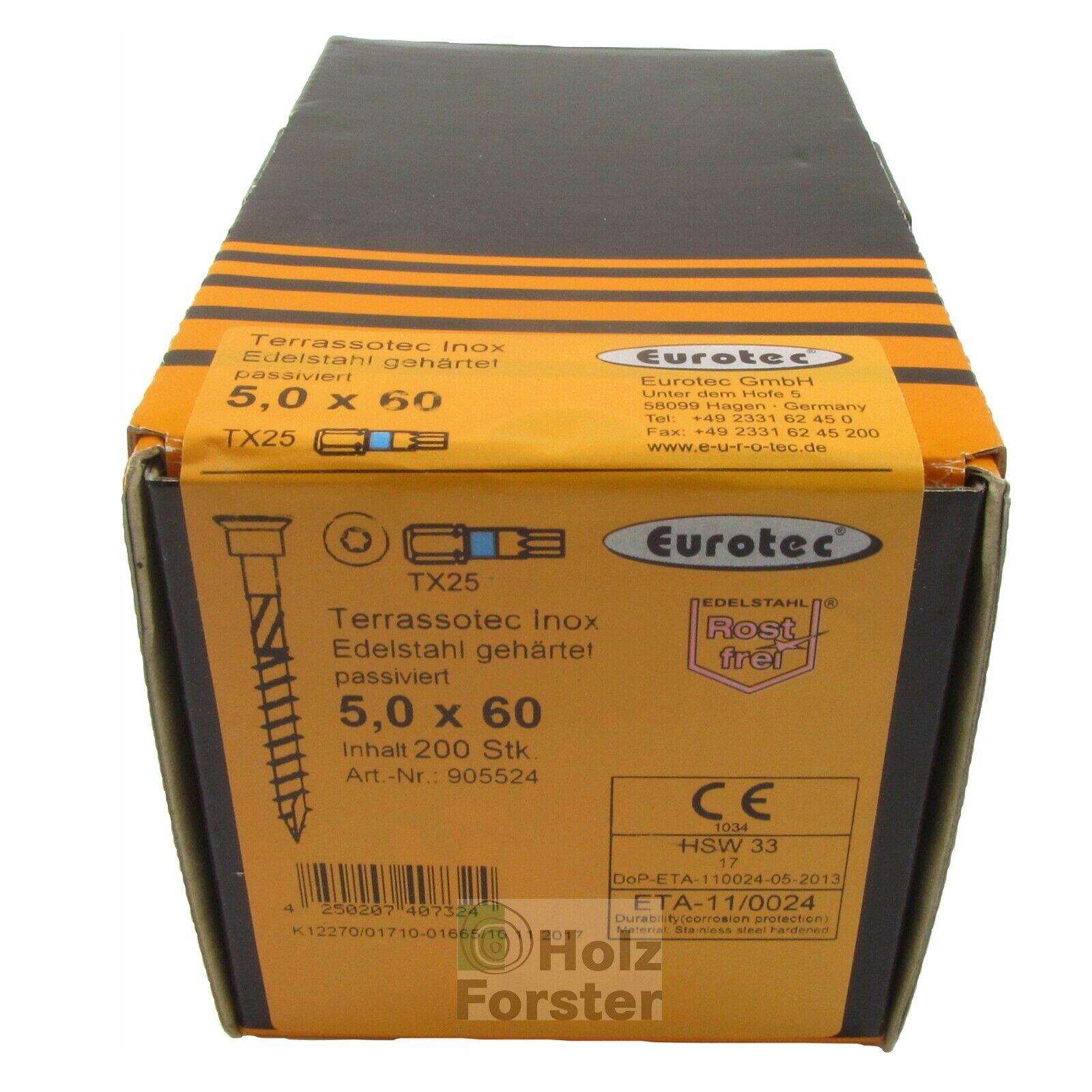EUROTEC EUROTEC EUROTEC Terrassotec Schrauben, Frässpitze blank, 5,0mm, diverse Längen   Leicht zu reinigende Oberfläche  e43519