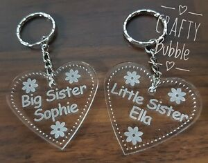 Personalised-acrylic-engraved-heart-big-Little-Sister-key-ring-engraved