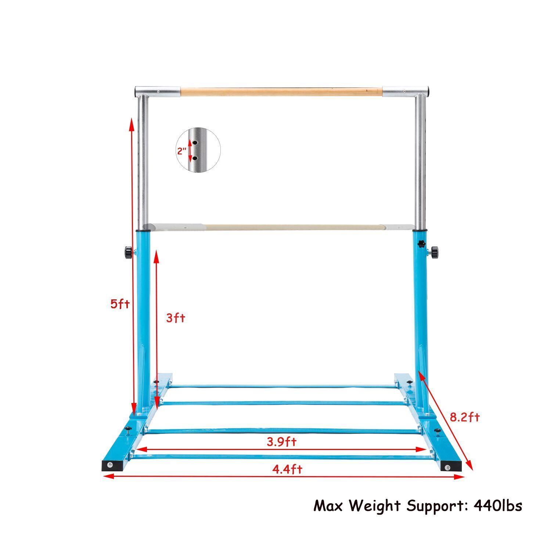 Adjustable Gymnastic Steel Kip Bar Sports Training Kid Improved Equipments blueee