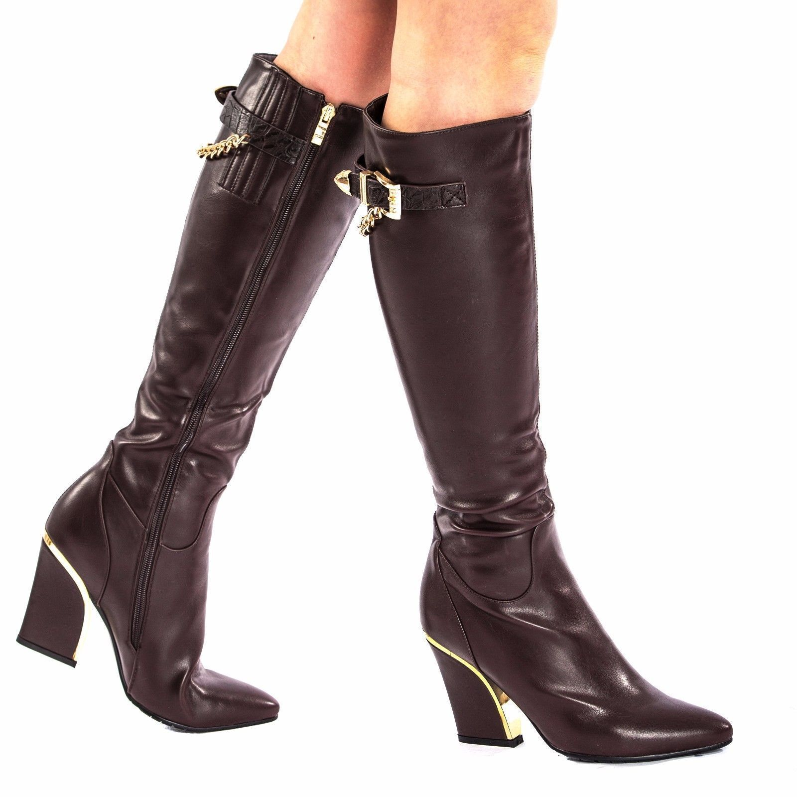 Womens Ladies Pu Leather Style gold Chain Knee High Zip Winter Long Boots Size 6