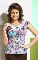 Blouse Casual Top Floral Made In Europe Stretch Natural Summer Cap Sleeve S M L