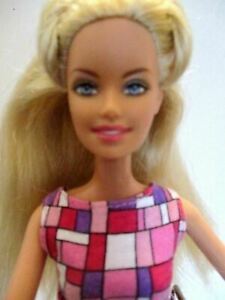 Barbie-doll-long-blonde-hair-Pink-barbie-dress-amp-Pink-high-heels