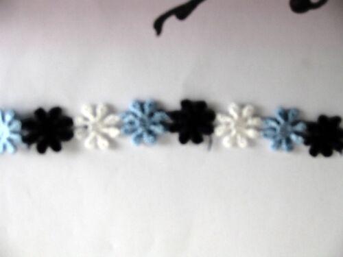 """Venise Lace Daisy Trim Applique Dolls 1//2/"""" White//navy//.Blue 10yd D53"""