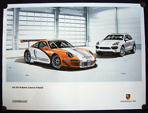 PORSCHE-OFFICIAL-911-GT3-R-amp-CAYENNE-S-HYBRIDS-SHOWROOM-POSTER-2010