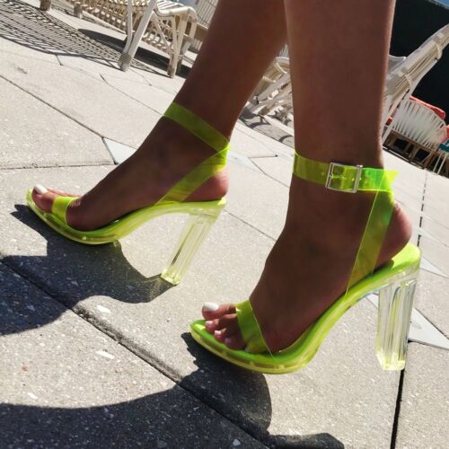 Cape Robbin RIESLING Lime Yellow Clear Transparent Jelly Platform Lucite Heel