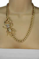 Women Gold Long Necklace Metal Chain Link Big Beetle Bug Fashion Jewelry Charm