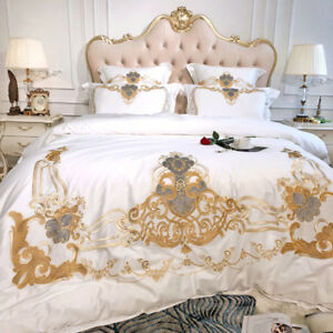 Cotton Bedding Sets King.Details About 4 6pcs King Queen Size White Bedding Set Luxury Egyptian Cotton Bed Sheet Set