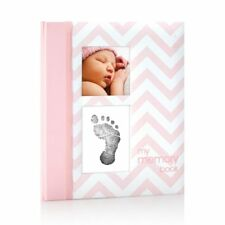 Pearhead Chevron Baby Book With Clean-touch Ink Pad Included Pink - a