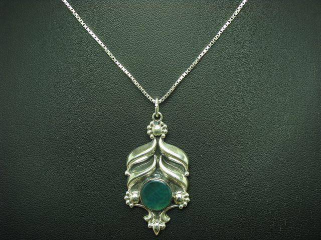 925 STERLING silver KETTE & ANHÄNGER MIT GLAS BESATZ   ECHTsilver 9,8g   46,5 cm