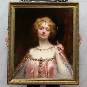"""Old Master-Art Antique Oil Painting Portrait noblewoman girl on canvas 30""""x40"""""""